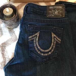True Religion dark wash boot cut jeans
